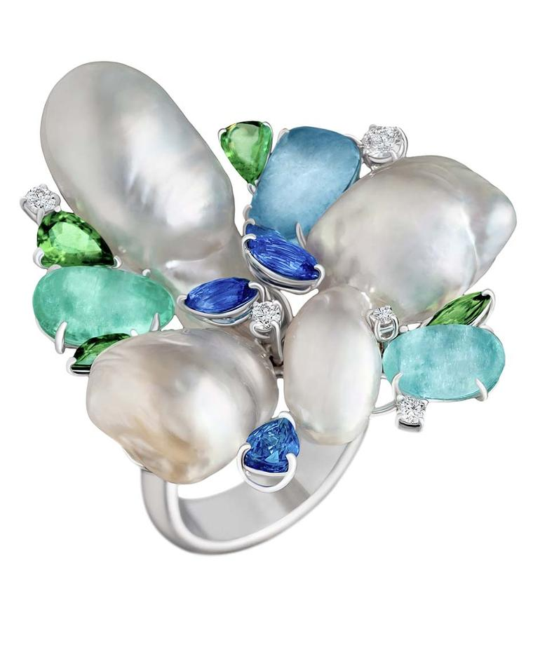 Margot McKinney baroque pearl ring with Paraiba tourmalines, sapphires, tsavorite garnets and diamonds.