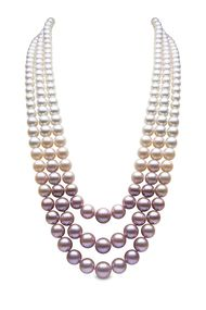YOKO London three-strand pearl necklace with South Sea, Akoya and natural colour pink freshwater pearls.