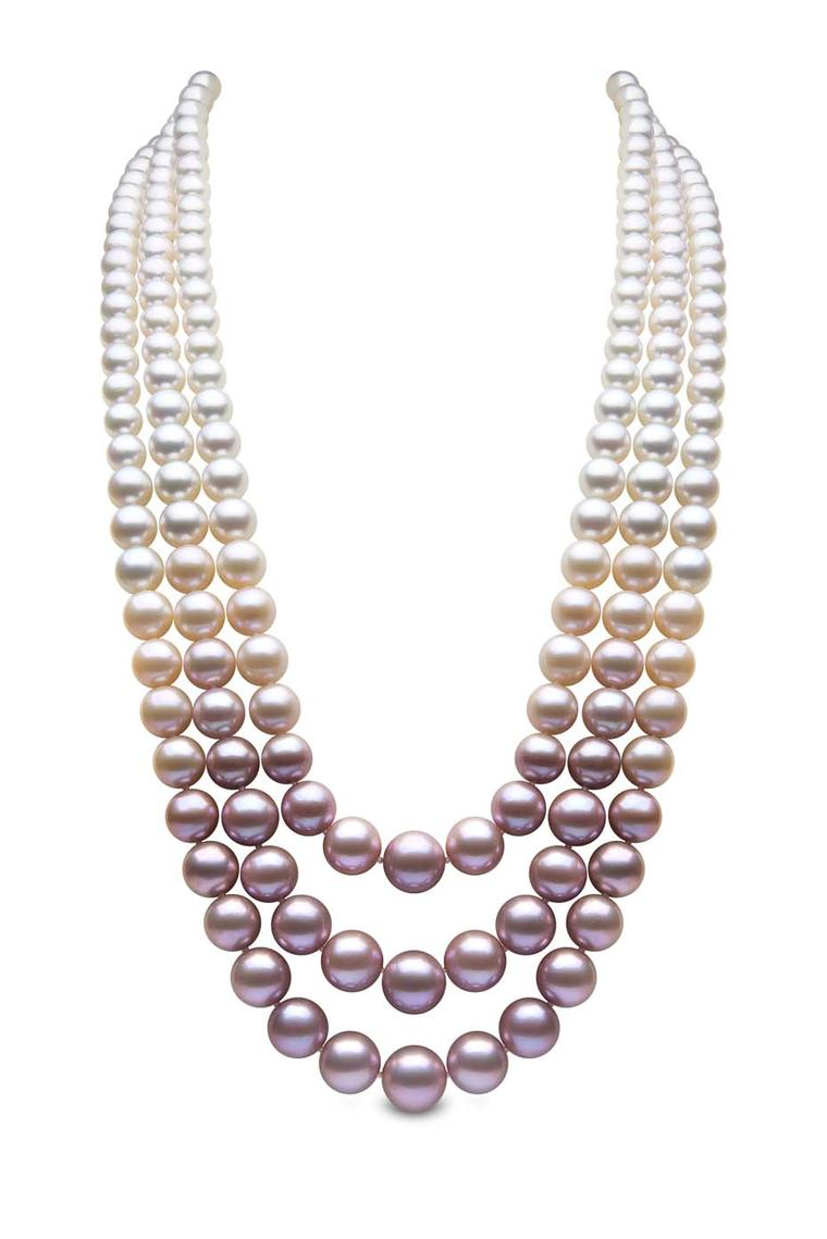 Blossom rose gold South Sea, Akoya and freshwater pearl necklace