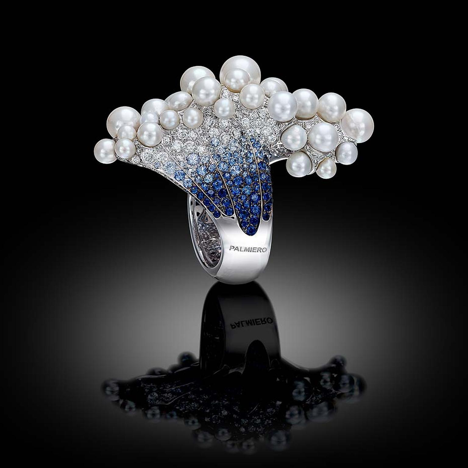Palmiero ring launched at Baselworld 2015, inspired by the underwater world, set with graduated blue sapphires and topped with a foam of bubbling pearls.