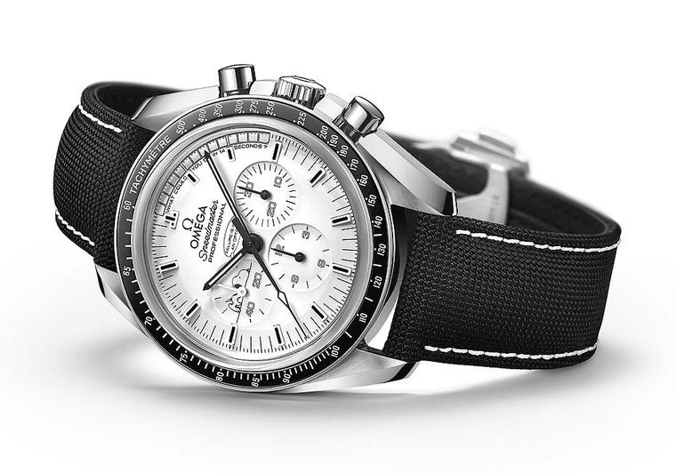 The dial of Omega's Speedmaster Apollo 13 Silver Snoopy Award men's watch is inspired by Charles Schulz' famous comic strip Peanuts, and features Snoopy having a nap in the small seconds counter. Snoopy was in fact a NASA mascot and the Silver Snoopy Awar