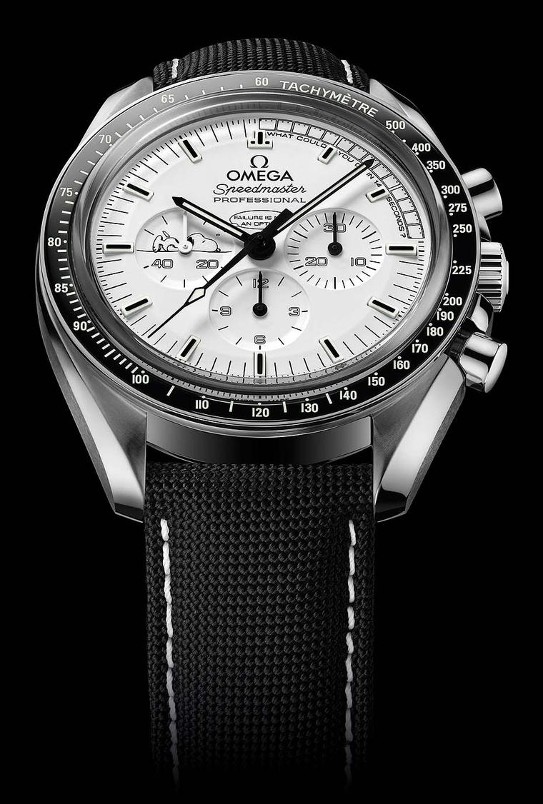 "The black ceramic bezel is hallmark Speedmaster and the numerals have been highlighted with luminescent material. Between 12 and 3 o'clock, the question ""What could you do in 14 seconds?"" is a direct reference to the 14-second, mid-course correction that"