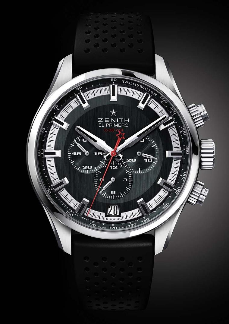 Zenith El Primero Sport men's watch with a virile slate-grey dial, broad faceted hour markers, and generous coatings of luminescence for enhanced readings. A detail Zenith watches fans will pick up on is the star emblem of the brand on the chronograph swe