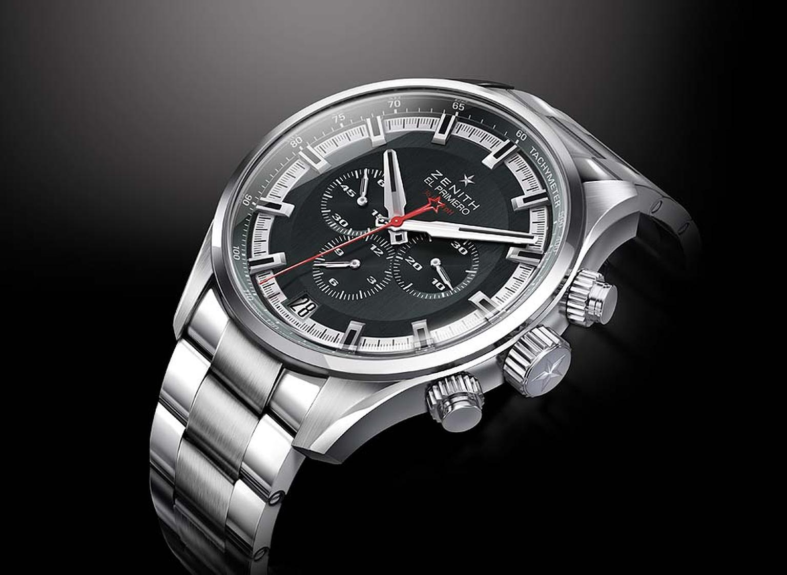 Zenith El Primero Sport men's watch beats to the El Primero 400 B calibre at a rate of 36,000 vibrations per hour, guaranteeing 1/10th of a second precision and a 50-hour power reserve for the hour, minute, chronograph, date and small seconds functions. M