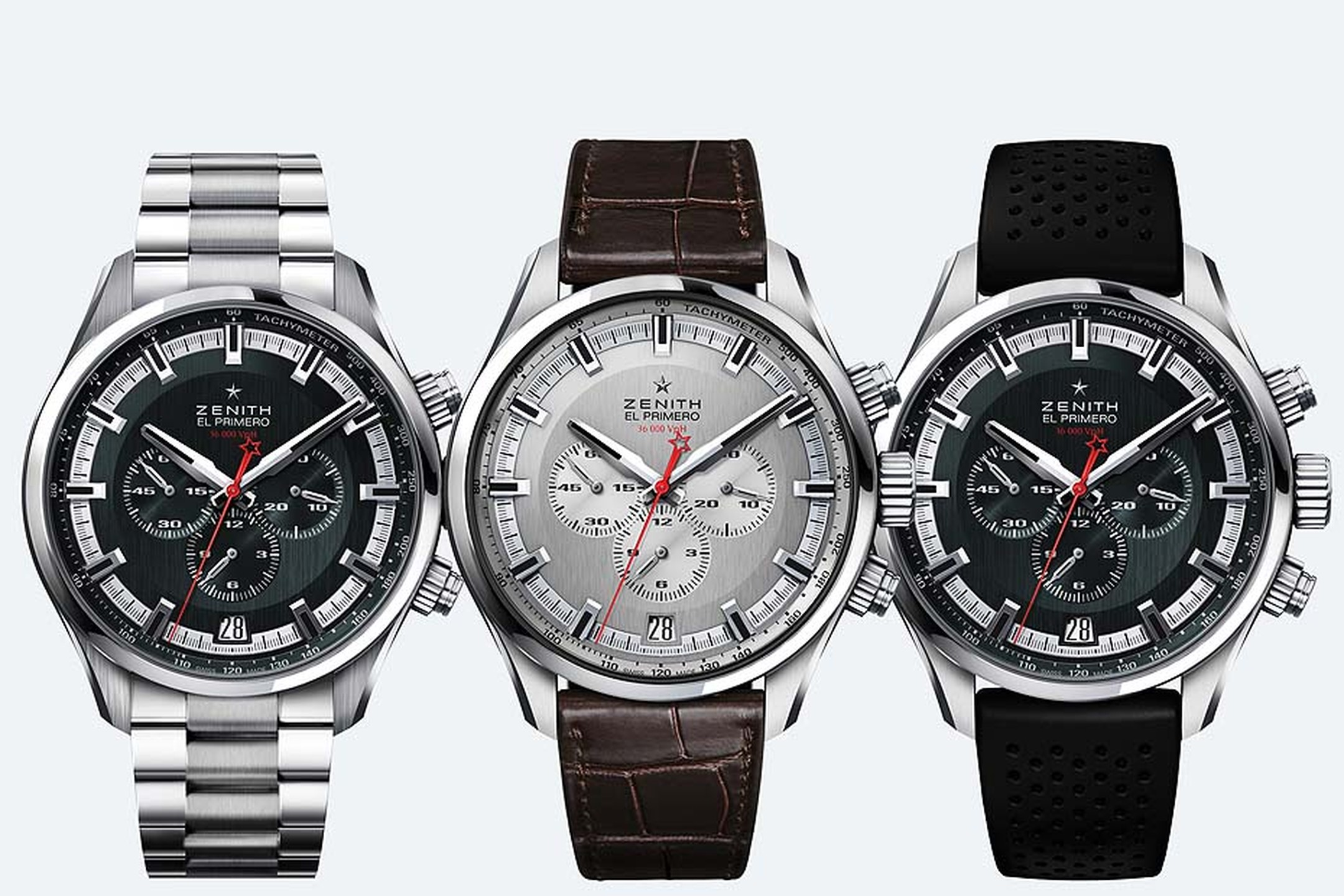 Three models of the new Zenith El Primero Sport chronograph presented at Baselworld 2015. The 45mm watches are presented on metal, leather or a rubber strap, and are water resistant to depths of 200 metres.