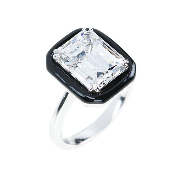 "Emerald-cut diamond engagement ring in white gold and black enamel from Nikos Koulis fine jewellery ""Oui"" collection."