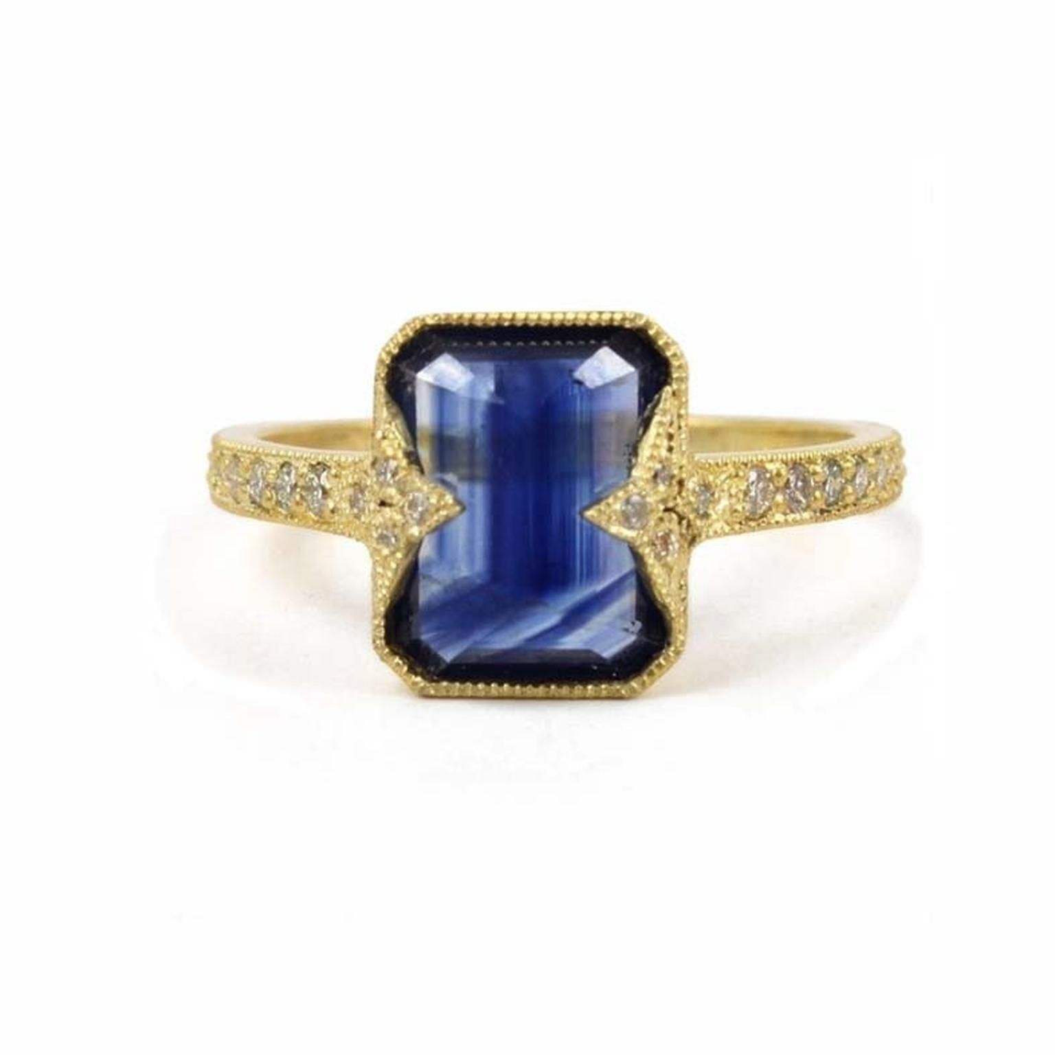 Sapphire engagement ring in yellow gold with diamonds by US-based jewellery designer ila & i, available from Tomfoolery in North London.