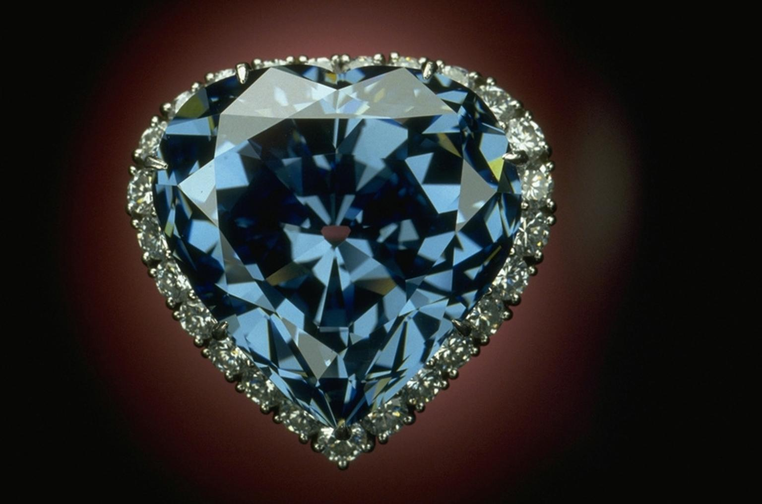 The 30.62ct Blue Heart diamond, part of the Smithsonian National Gem collection, was originally faceted by French jeweller Atanik Eknayan in 1909-1910, and then set in its current platinum ring setting by Harry Winston in 1959. Photo credit: Chip Clark.