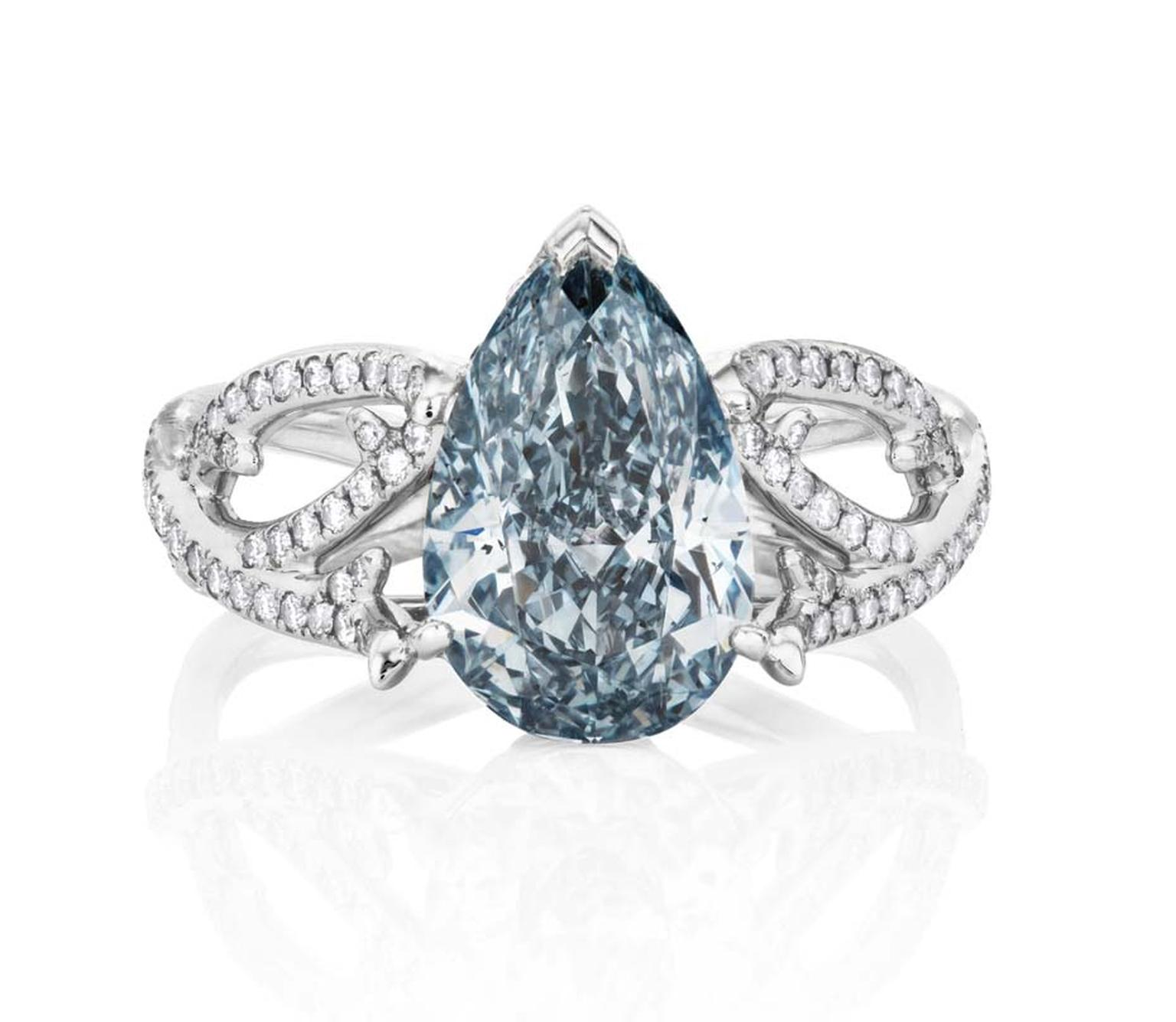 De Beers 1888 Master Diamonds Volute blue diamond ring