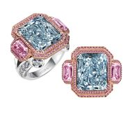 Jacob & Co Blue Nile ring, set with a 12.38ct natural fancy blue radiant-cut diamond, flanked by two fancy purple-pink emerald-cut diamonds, framed in round brilliant pink diamonds micro pavé set in rose gold, and mounted in platinum with additional white