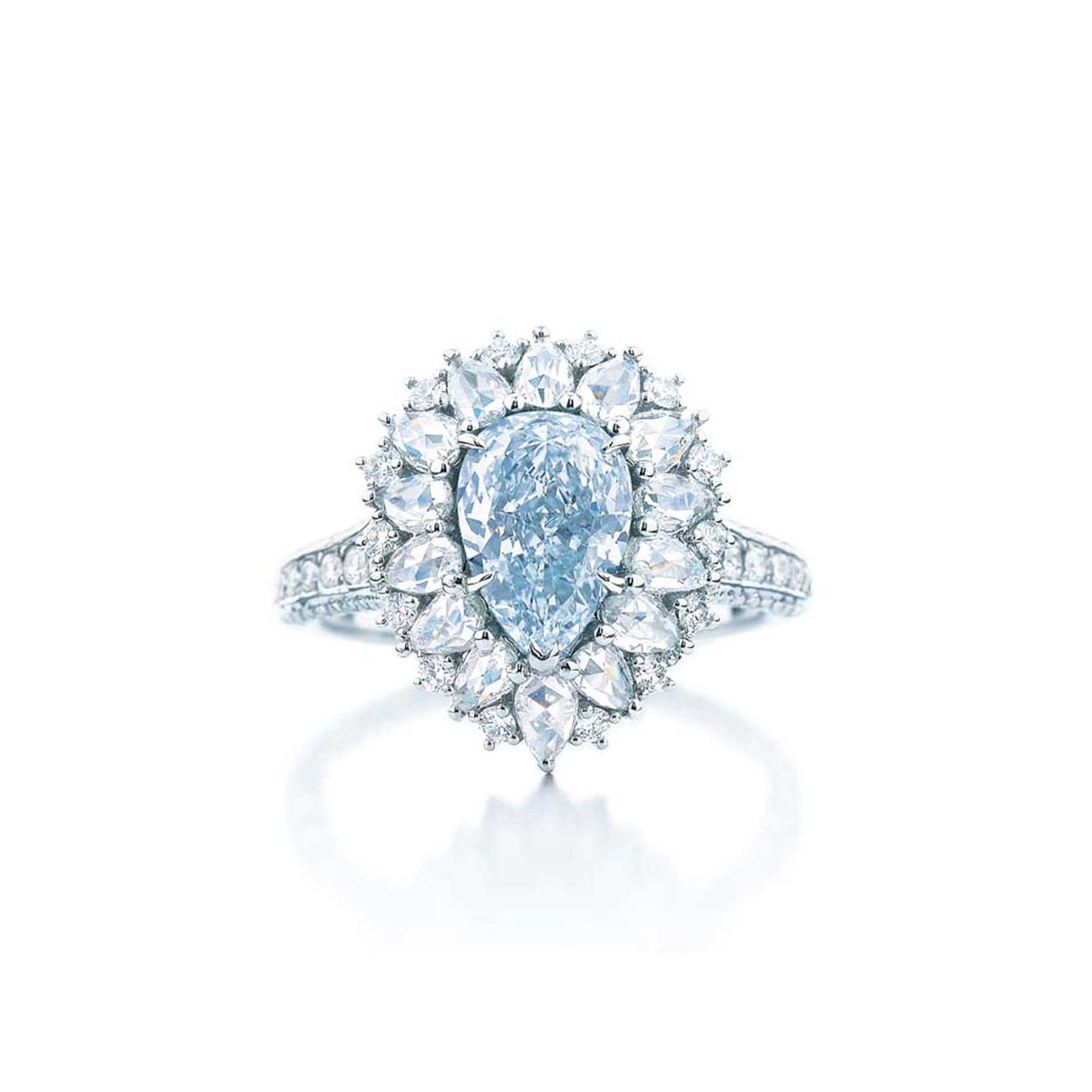 One-of-a-kind Tiffany & Co. pear-shape blue diamond ring from the 2014 Blue Book Collection.