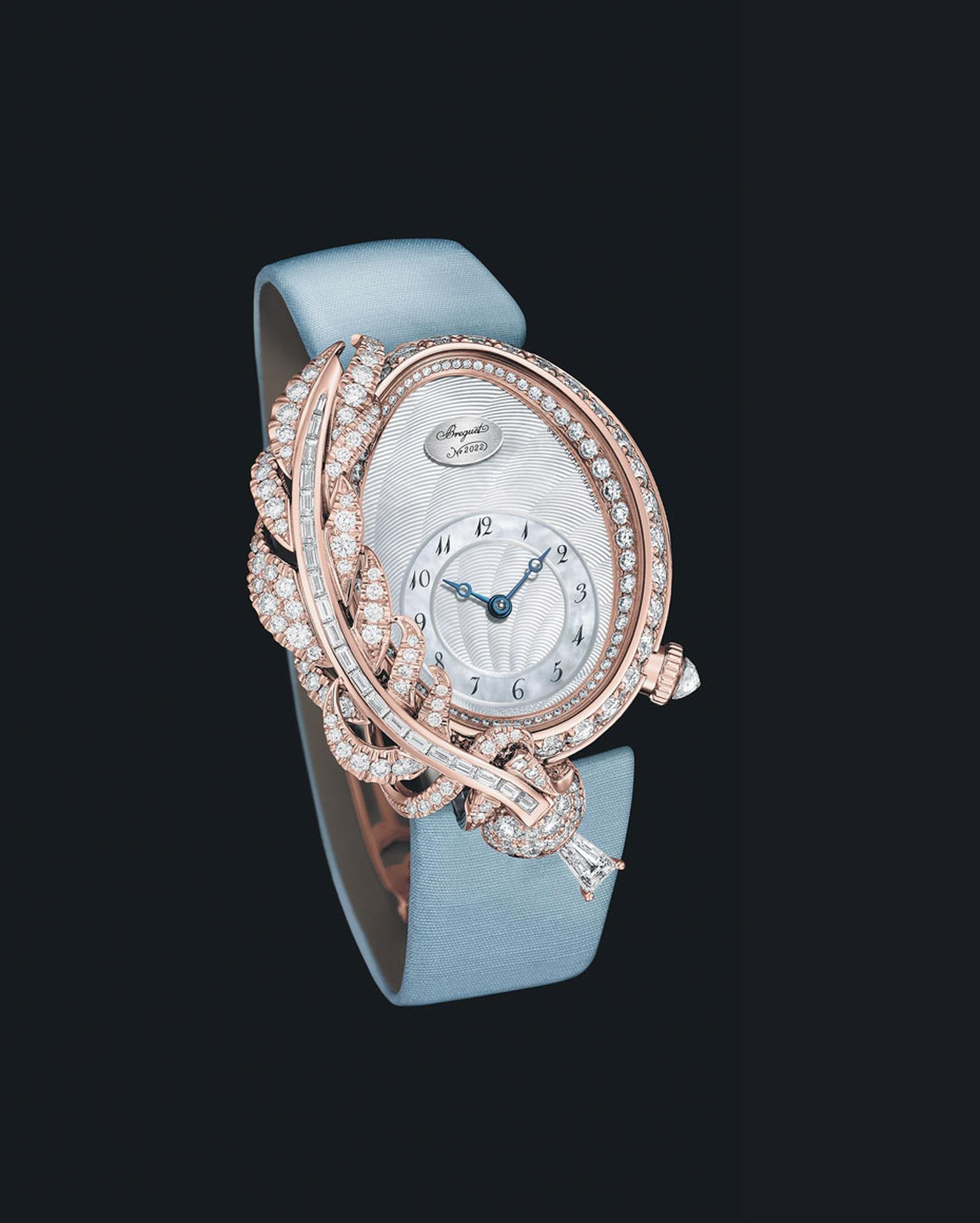 Breguet watches Rêve de Plume captures the imperial style of Queen Marie-Antoinette's court to perfection. The oval-shaped, pink gold case houses a precision Breguet automatic movement.