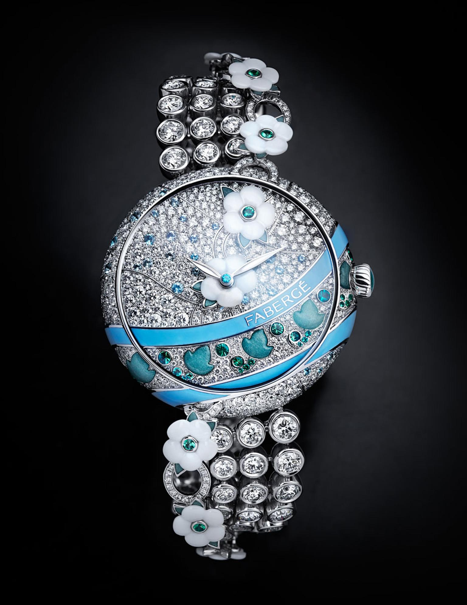 Fabergé watches Summer in Provence emerald timepiece emanates romance and femininity, and required the work of gemsetters, engravers, enamellers and watchmakers, who equipped the high jewellery watch with an automatic movement.