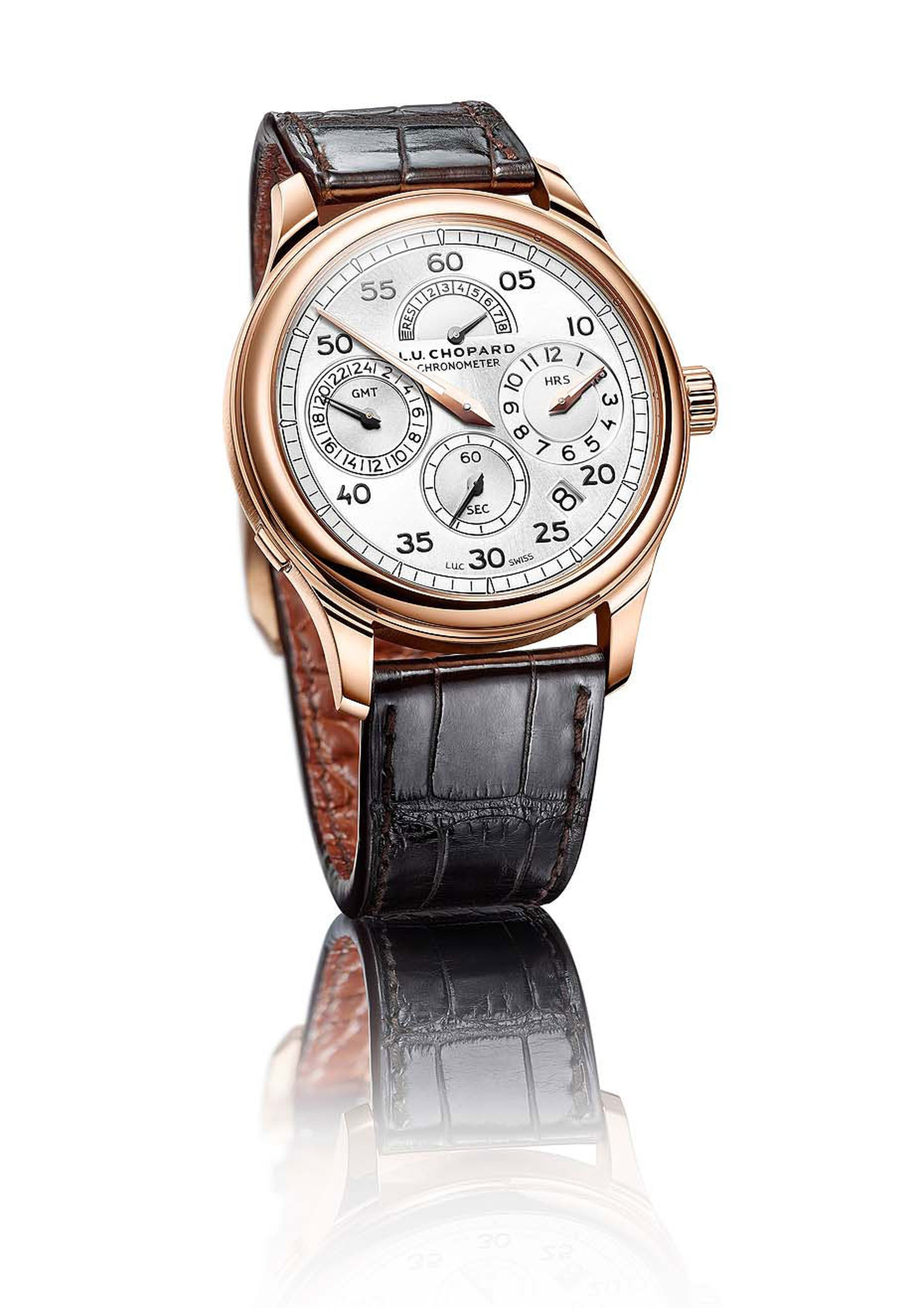 Chopard watches has revisited the regulator clock with its new L.U.C Regulator model in rose gold. The central minute track circles the perimeter of the dial, and the hours counter has been placed strategically at 3 o'clock.