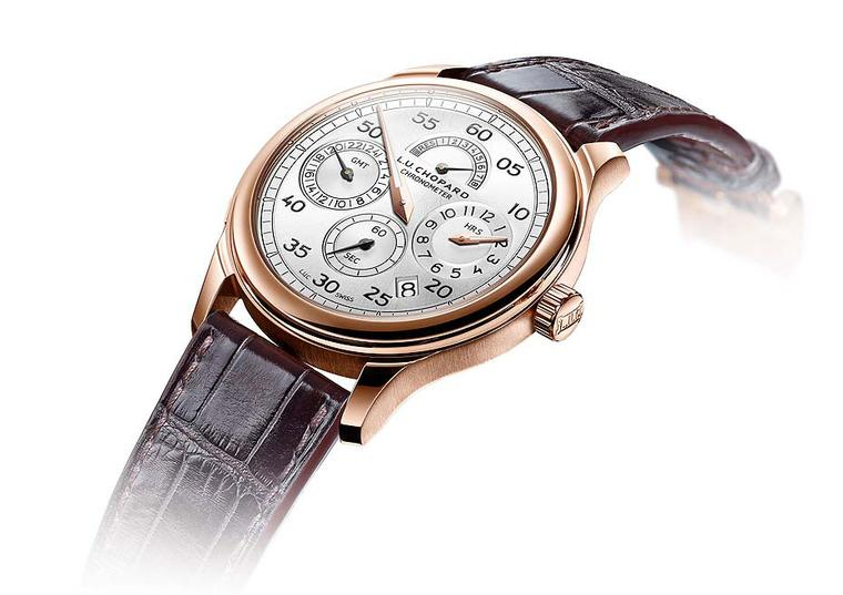Chopard watches L.U.C Regulator is presented in a 43mm rose gold case. The dial is packed with useful information including a date window, a small seconds counter, a power reserve indicator at 12 o'clock, and a GMT function at 9 o'clock and, best of all,