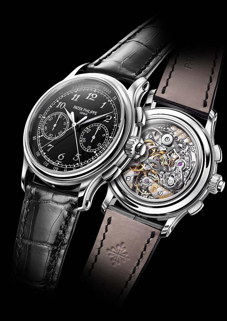 Patek Philippe watches Split-Seconds chronograph is one of Patek's most coveted complications powered by calibre CHR 29-335 PS. The 41mm platinum case is offset by the sleek black enamel dial.