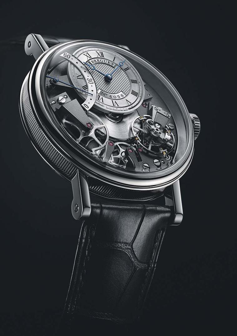 Breguet watches Tradition Automatique Seconde Rétrograde 7097 is inspired by Abraham-Louis Breguet's tact watches, which allowed the wearer to read the time by touch alone. With its openworked dial, nothing is left to the imagination, and the bridges, whe