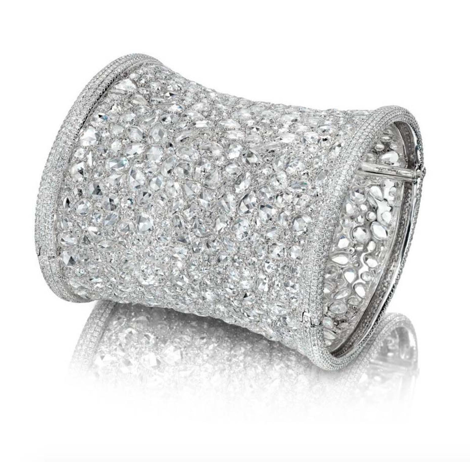 Anna Hu's Hearst of Winter high jewellery cuff, as worn by Gwyneth Paltrow to the 2012 Oscars, is made of 2,368 rose-cut, round brilliant diamonds and is valued at $1 million.