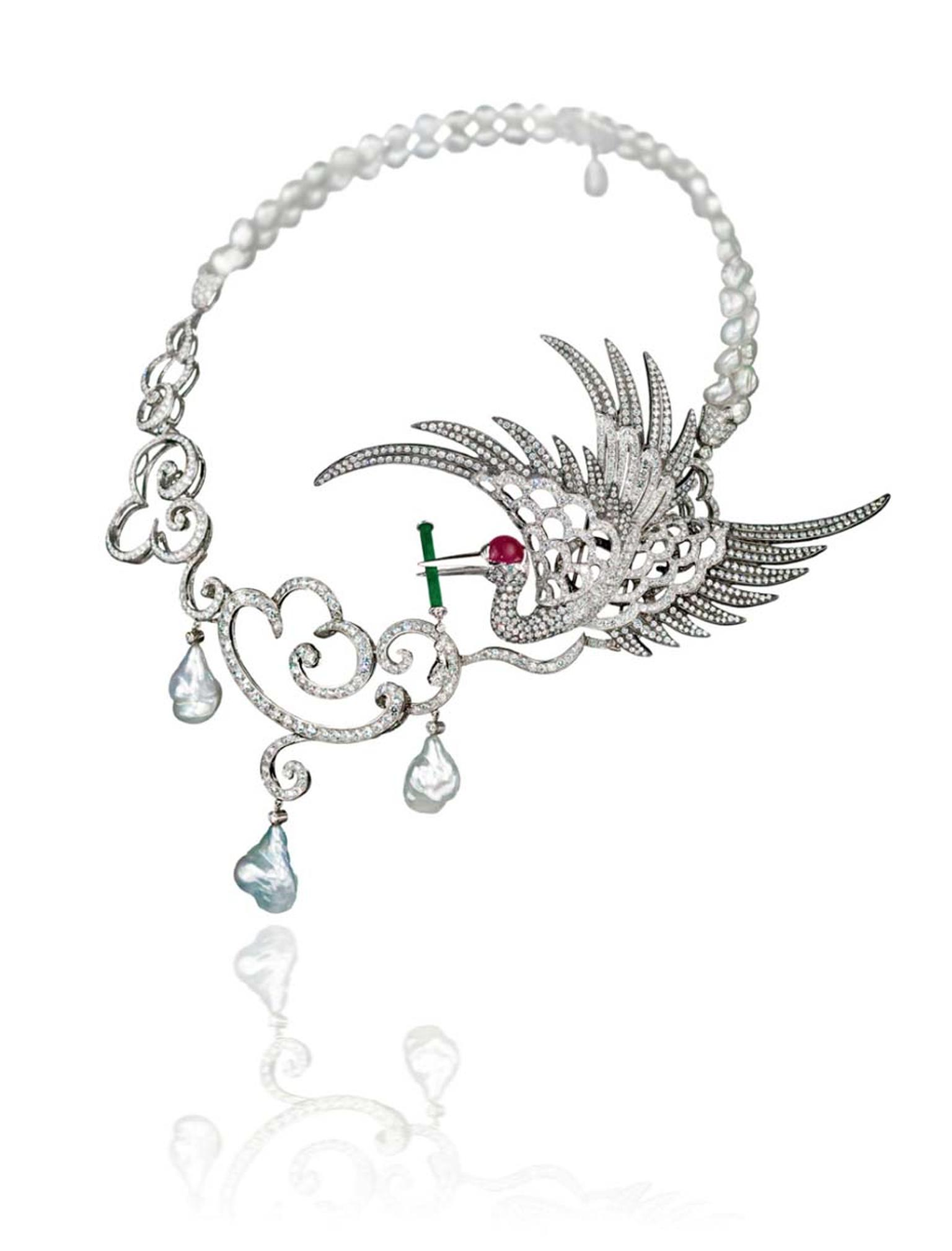 Gnossienne high jewellery necklace by Taiwanese-born cellist turned jewellery designer Anna Hu, features an imperial crane holding a jade flute on a circle of keshi pearls, symbolising holy water falling from the clouds.