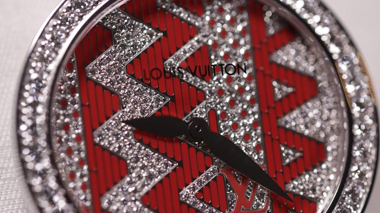 Vuitton's Chevron ladies' watches feature strong colours and, graphic patterns and plenty of diamonds and were created under the guidance of  Louis Vuitton's designer Nicolas Ghesquière.