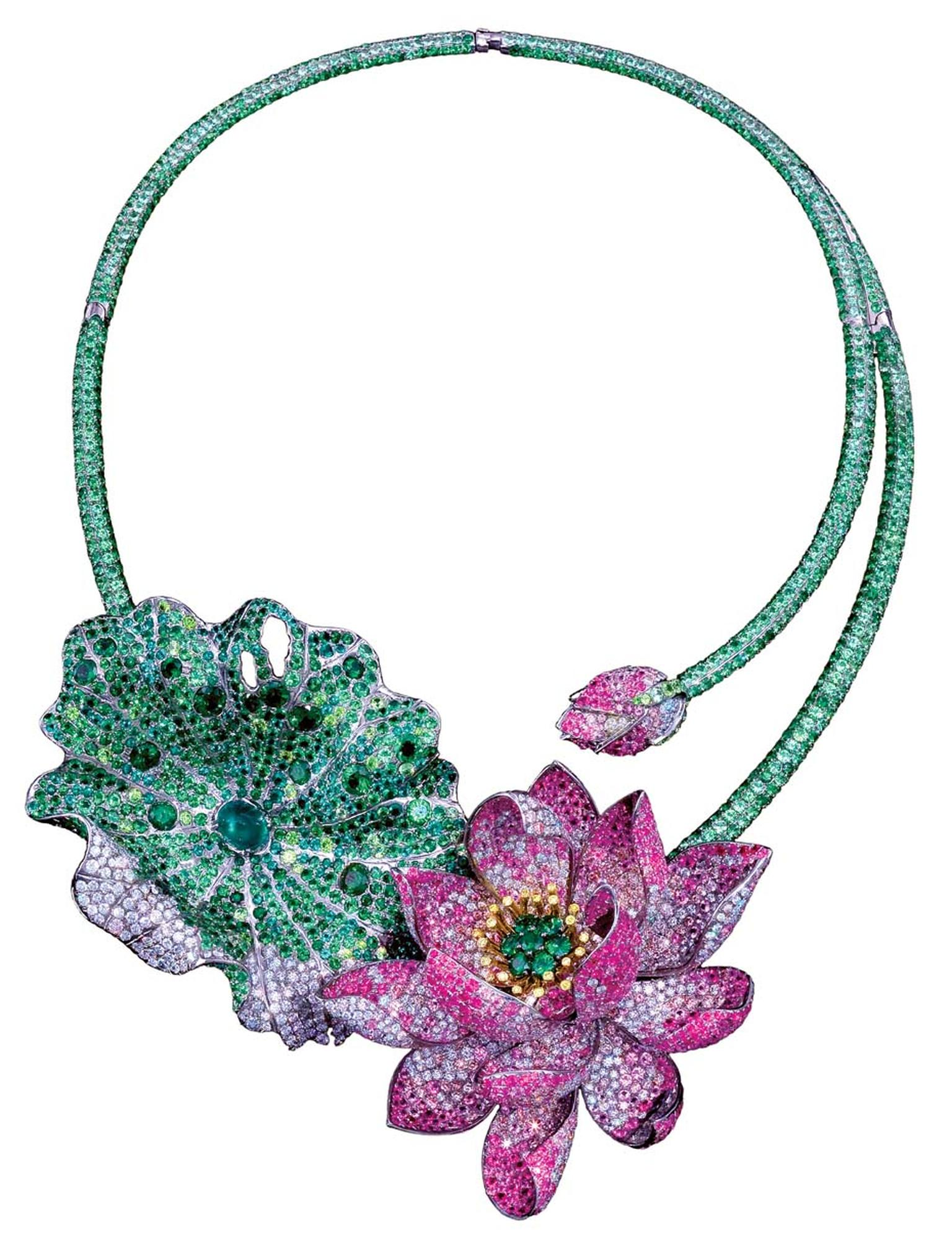 Anna Hu Art Nouveau-style Celestial Lotus necklace set with natural Fancy Intense vivid yellow, grey and white diamonds, natural Burmese rubies, Colombian emeralds, demantoid garnets, tsavorites, and multi-coloured pink sapphires in titanium.