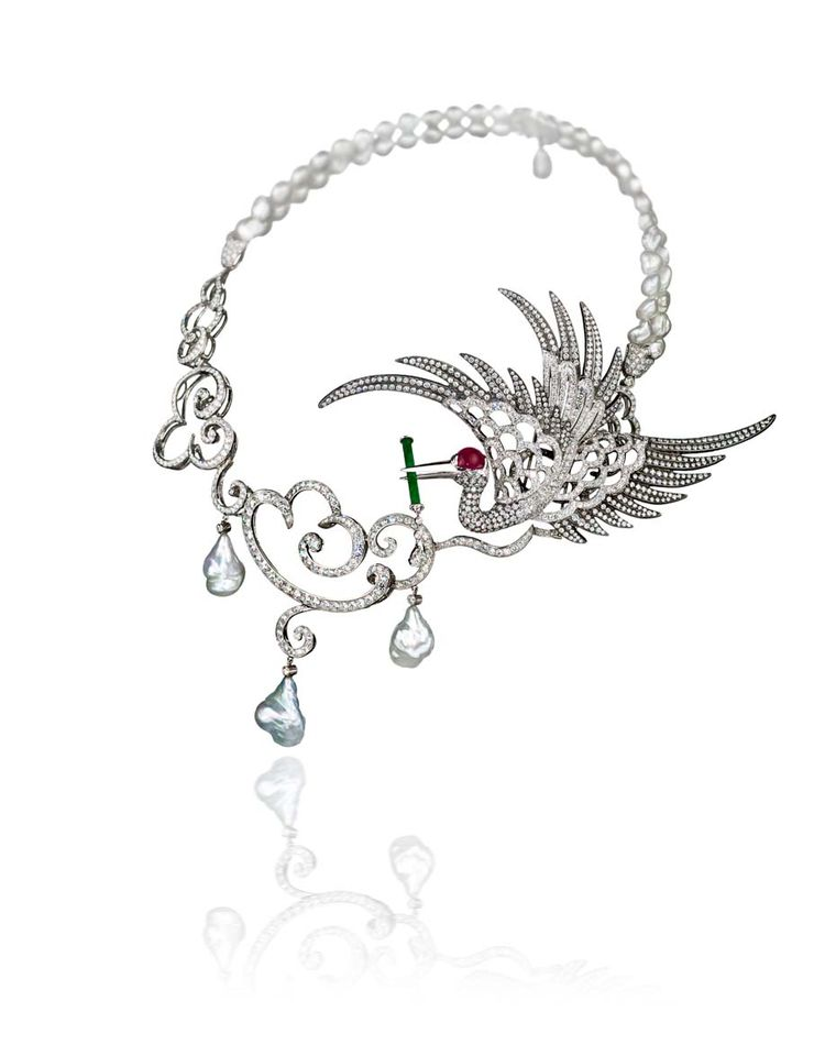 Gnossienne high jewellery necklace by Taiwanese-born cellist-turned-jewellery-designer Anna Hu, featuring an imperial crane holding a jade flute on a circle of keshi pearls, symbolising holy water falling from the clouds.
