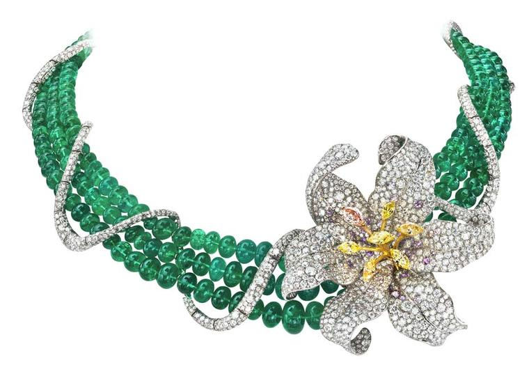 One of Anna Hu's latest creations, the emerald Turandot Lily necklace, pavé set with diamonds.