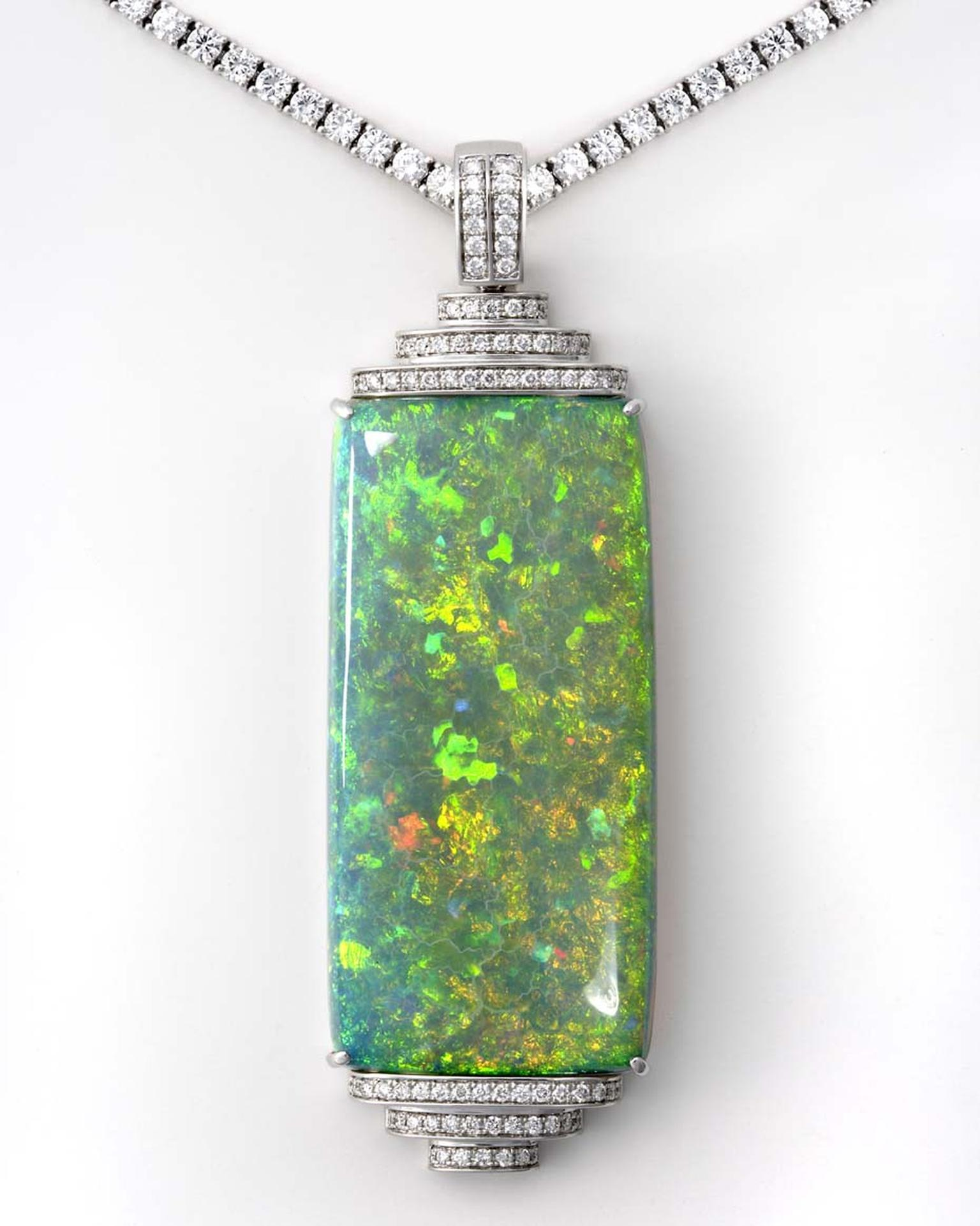 Coober Pedy opal pendant designed by Fiona Altmann of Altmann & Cherny, set with a 121ct opal in white gold with diamonds.