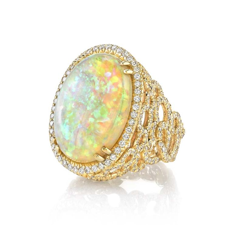 Erica Courtney Opal Cloud ring in gold, set with a 10.33ct Coober Pedy opal and diamonds.