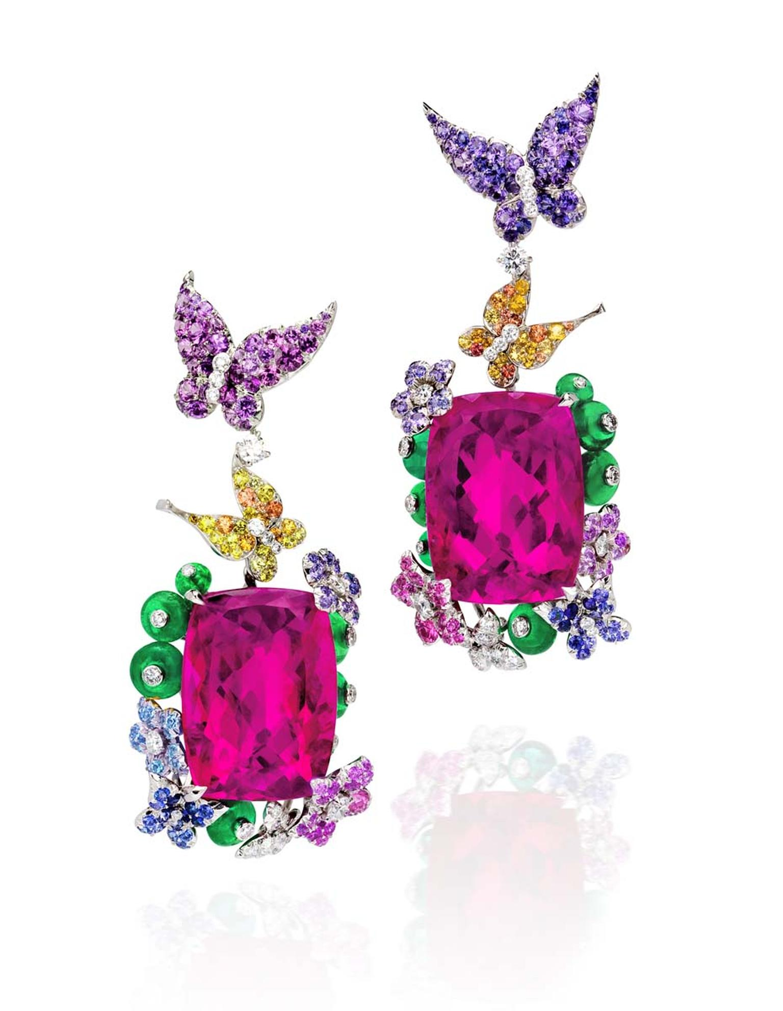Anna Hu's enchanting pair of high jewellery earrings depicting dainty butterflies, which appear to be carrying two rubellites skywards.