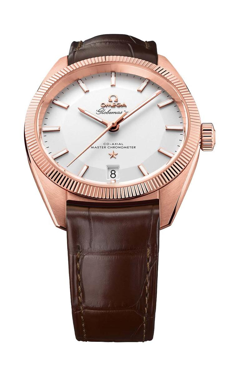 Omega Globemaster comes in a variety of metals including Omega's proprietary Sedna gold, as well as yellow gold, stainless steel and two-tone combinations of steel and gold. The 39 mm case features the hallmark fluting on the bezel, an inheritance from th