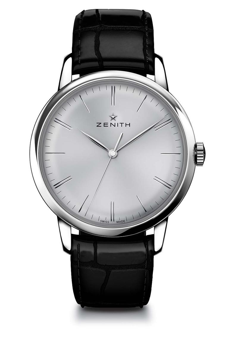 Zenith Elite 6150 men's watch is the epitome of understatement and refined taste. With its slim 42 mm pebble-shaped case and cambered dial punctuated by elongated baton hands, the Elite 6150 has replaced the small seconds counter with a sweep-seconds hand