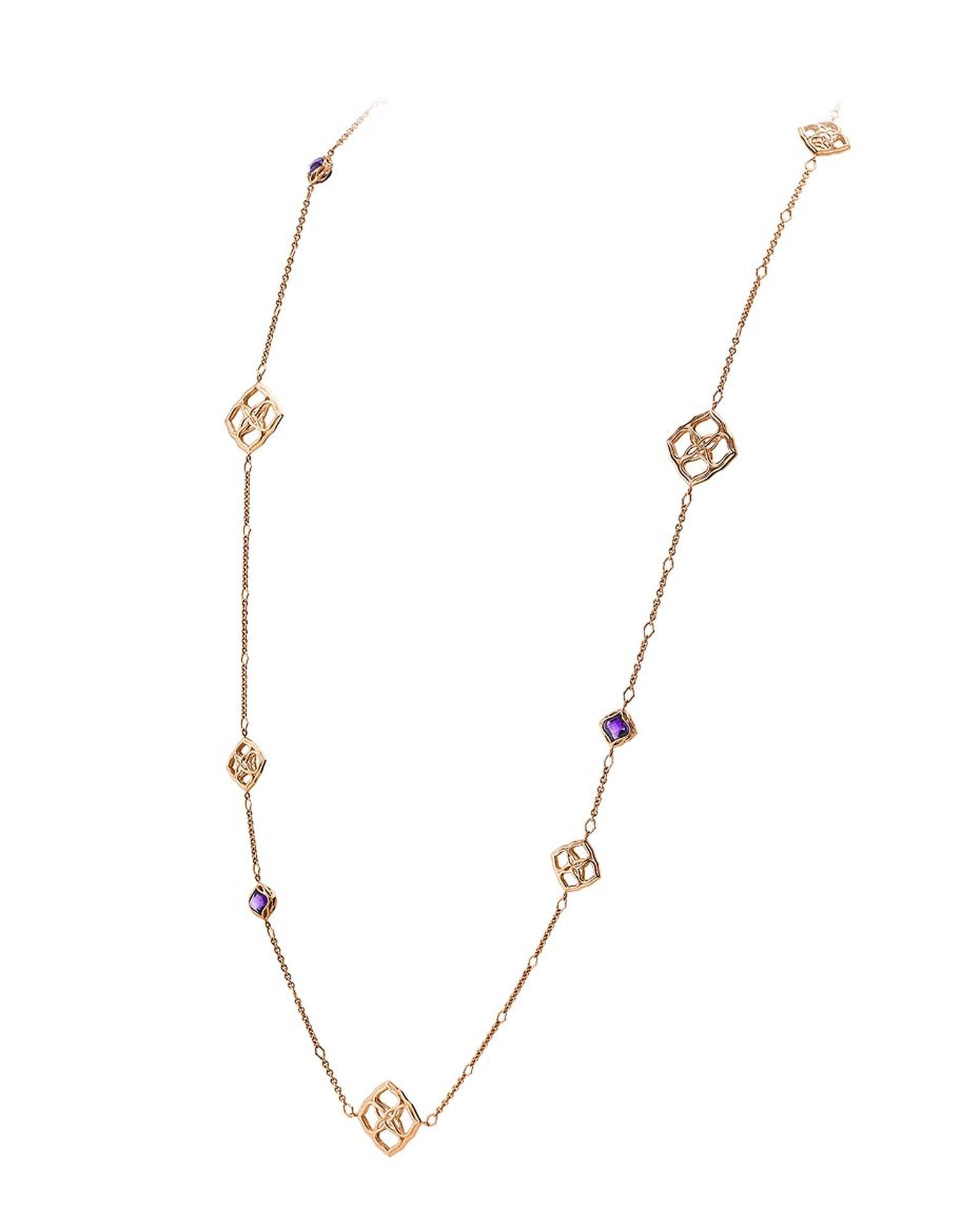 Chopard necklace from the Imperiale collection with diamond-set arabesques and faceted amethysts on a long rose gold chain.
