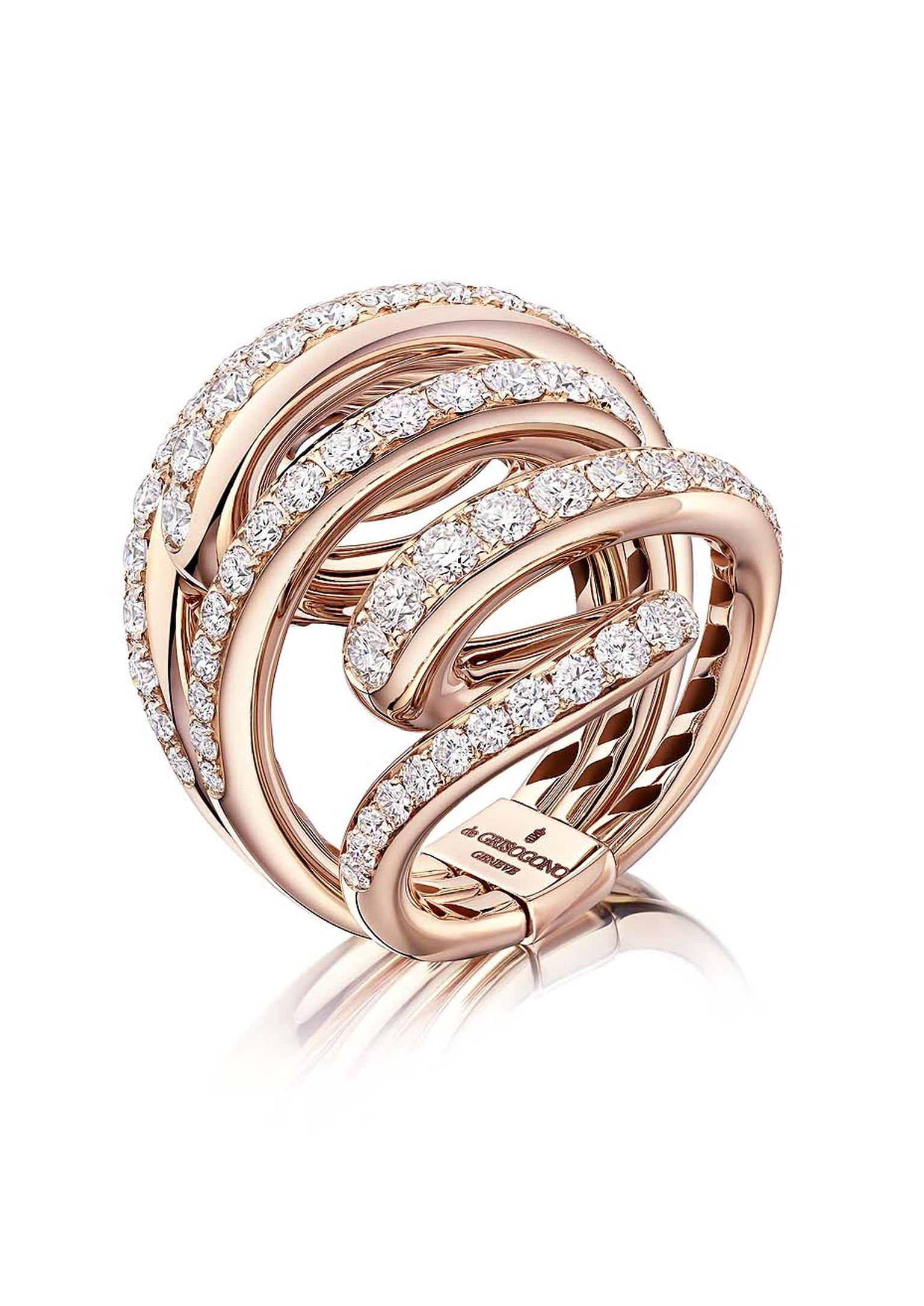 Rose gold de GRISOGONO ring from the new Vortice collection, set with 87 sparkling white diamonds.