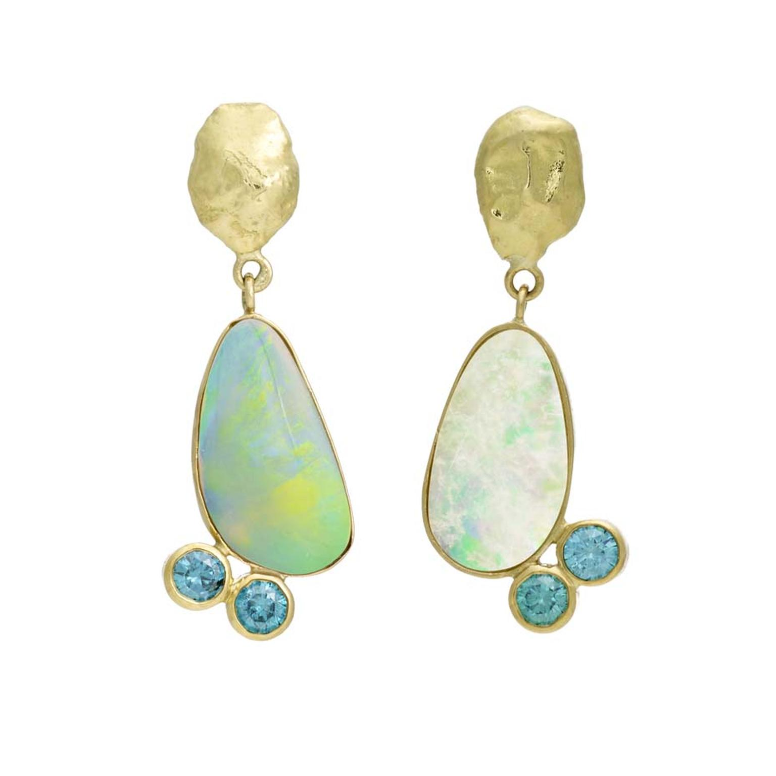Asymmetric iKuria Australian opal earrings with blue diamonds and recycled yellow gold nuggets.