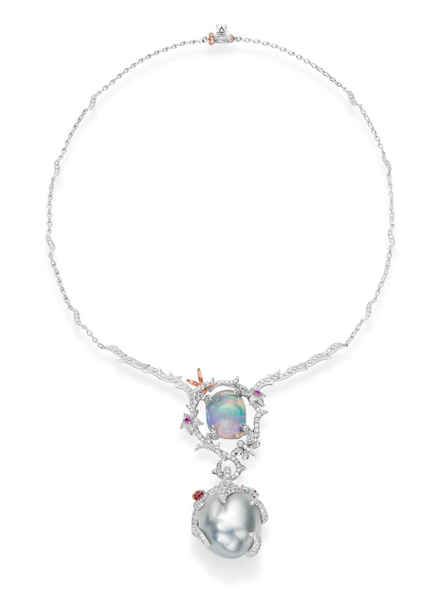 Mikimoto's Legend necklace features a 11.42ct tumbled water opal, a 24mm Baroque South Sea cultured pearl, pink sapphires, rubies and diamonds set in pink and white gold.