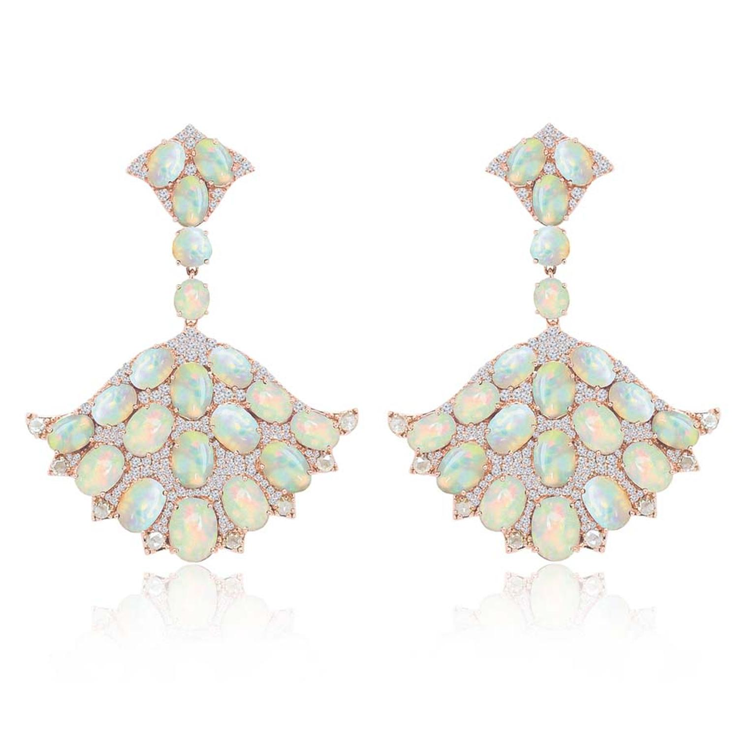 Sutra fan-style opal earrings with diamonds in rose gold.