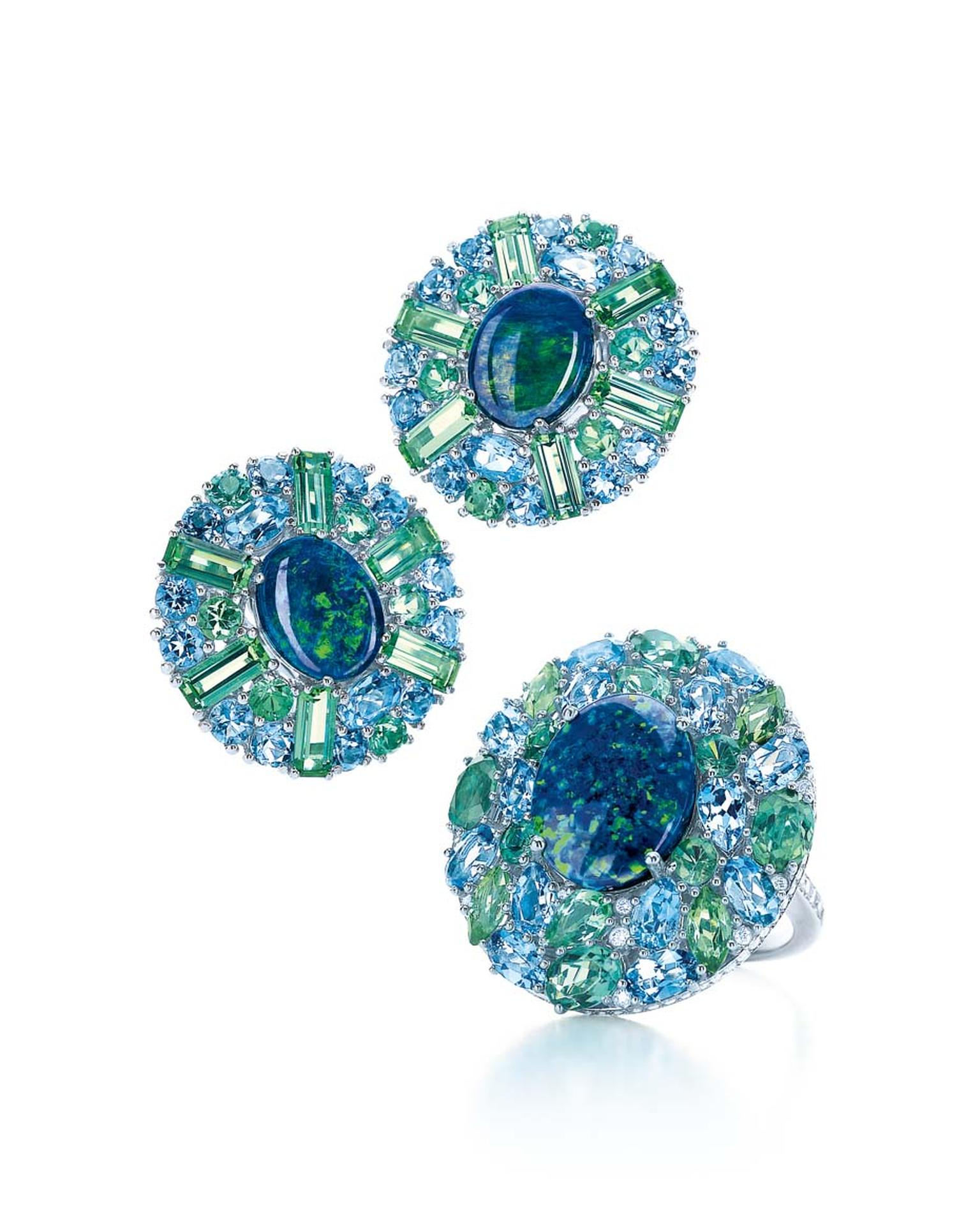 Tiffany & Co. black opal earrings and ring from the Blue Book collection with green tourmalines and aquamarines in platinum.