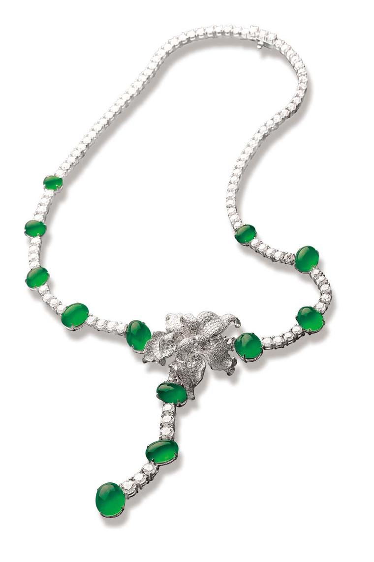 Zhaoyi Dancing Green Bird necklace set with diamonds and 12 vivid green jade cabochons.