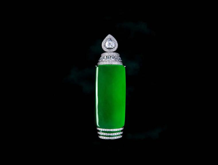 Zhaoyi green jadeite pendant with diamonds.