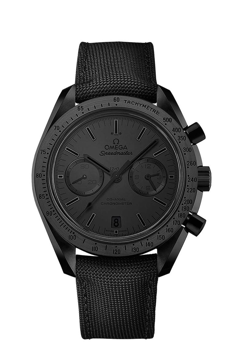 Omega Speedmaster Dark Side of the Moon Black Black watch has a polished and brushed black ceramic case, a matte black ceramic dial and black nylon fabric strap. The hands and indices are all coated with black Super-LumiNova.