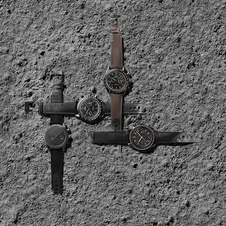 The new Omega Speedmaster Dark Side of the Moon collection is made up of four new ceramic watches that were inspired by the original 2013 Dark Side of the Moon watch. All watches are powered by an Omega Co-Axial calibre 9300 column wheel chronograph movem