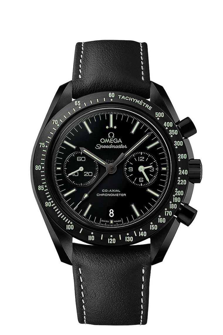 Omega Speedmaster Dark Side of the Moon Pitch Black watch is distinguished by the green Super-LumiNova that coats all of the indications on the matte black ceramic dial.