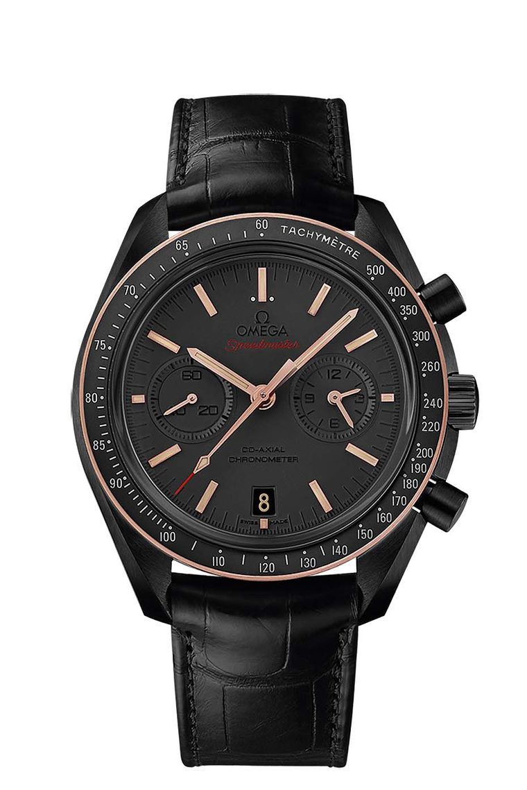 Omega Speedmaster Dark Side of the Moon Sedna Black with a 44.25 mm black brushed ceramic case, enhanced with Omega's proprietary Sedna gold on the bezel ring and applied indices and hands. A vintage coloured Super-LumiNova picks out the indices, the hour