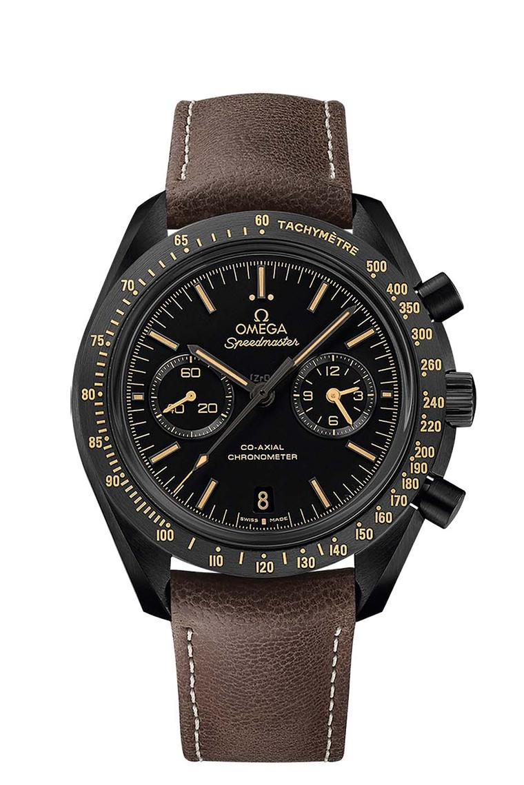 Omega Speedmaster Dark Side of the Moon Vintage Black model with brown indices, hands and indications highlighted with vintage coloured Super-LumiNova. Like the other models, the matte ceramic dial with the iconic tachymetre scale has been created with la