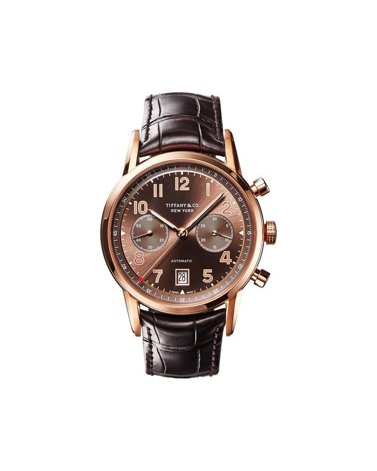 Tiffany & Co. CT60 Chronograph watch in a 42mm rose gold case with a brown sunray dial and a precision Swiss mechanical movement.