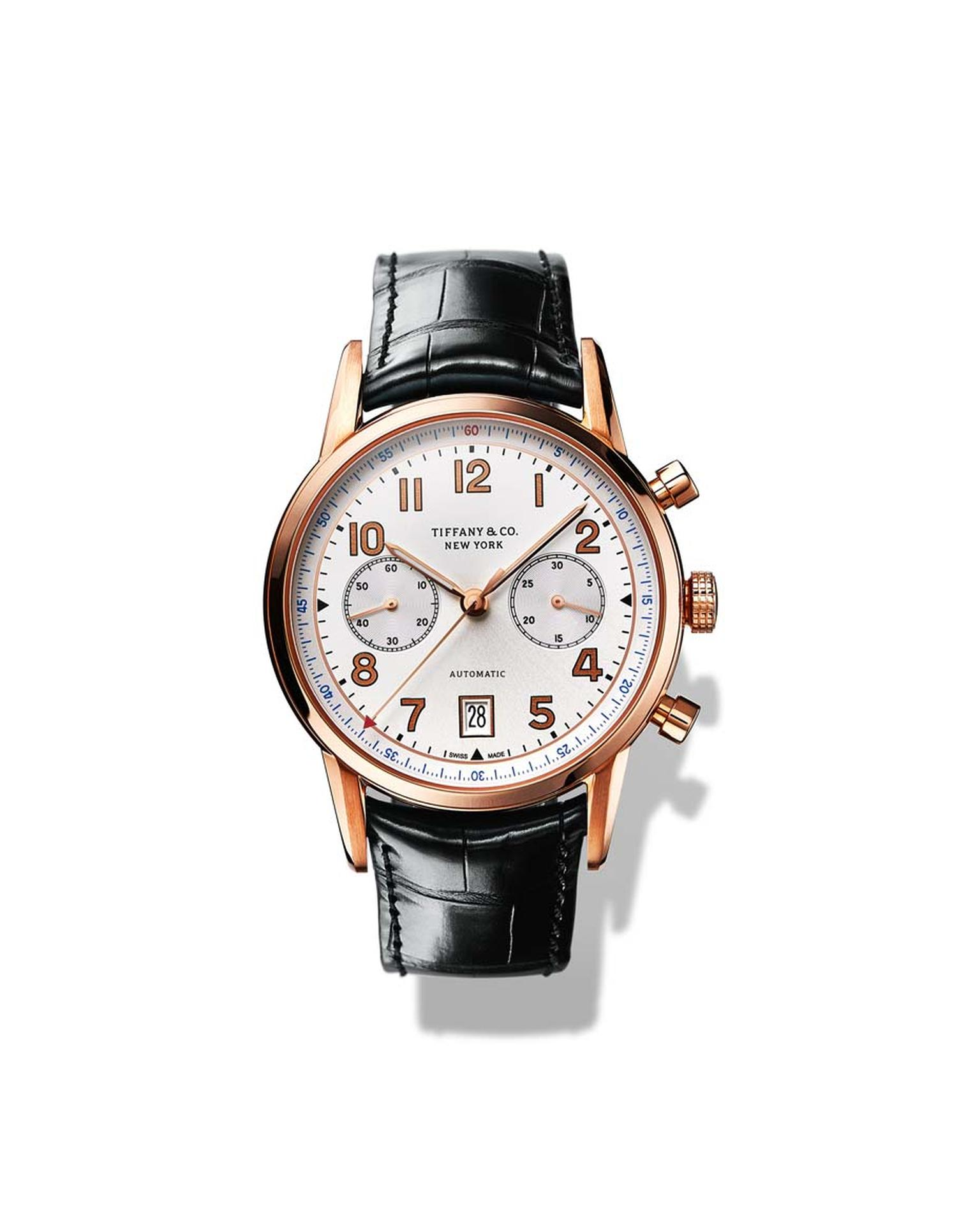 Tiffany & Co. CT60 Chronograph watch in a 42mm rose gold case with a white dial and a precision Swiss mechanical movement.