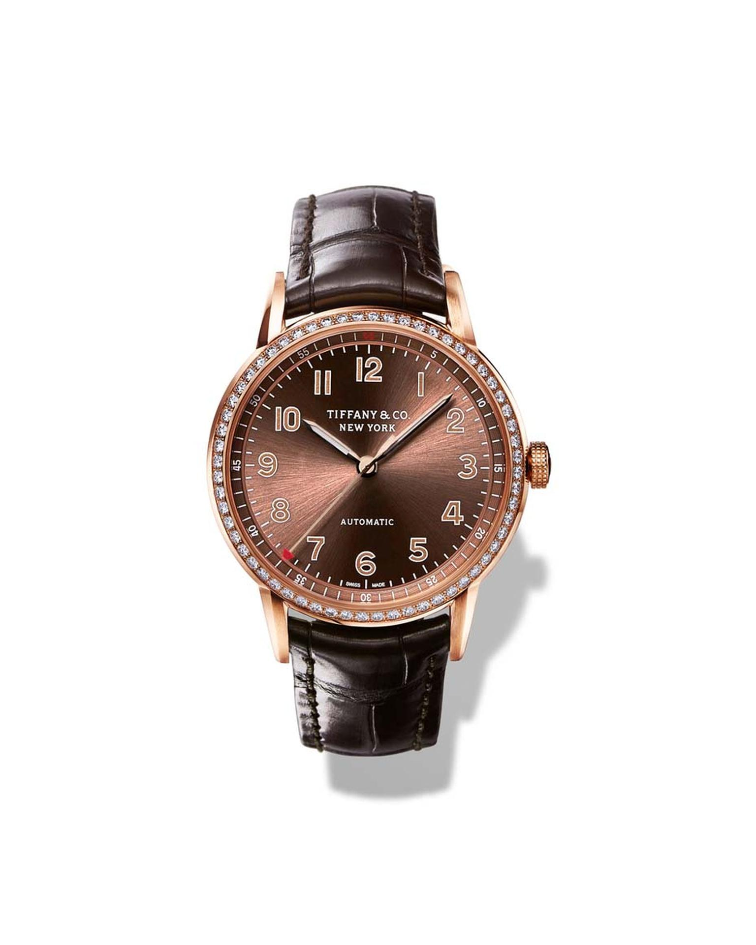 The new CT60 collection of Tiffany watches was inspired by a timepiece made for President Roosevelt in 1945. Pictured is the 34mm CT60 3-Hand ladies' watch in rose gold, with a brown sunray dial and round-cut brilliant diamonds on the bezel.
