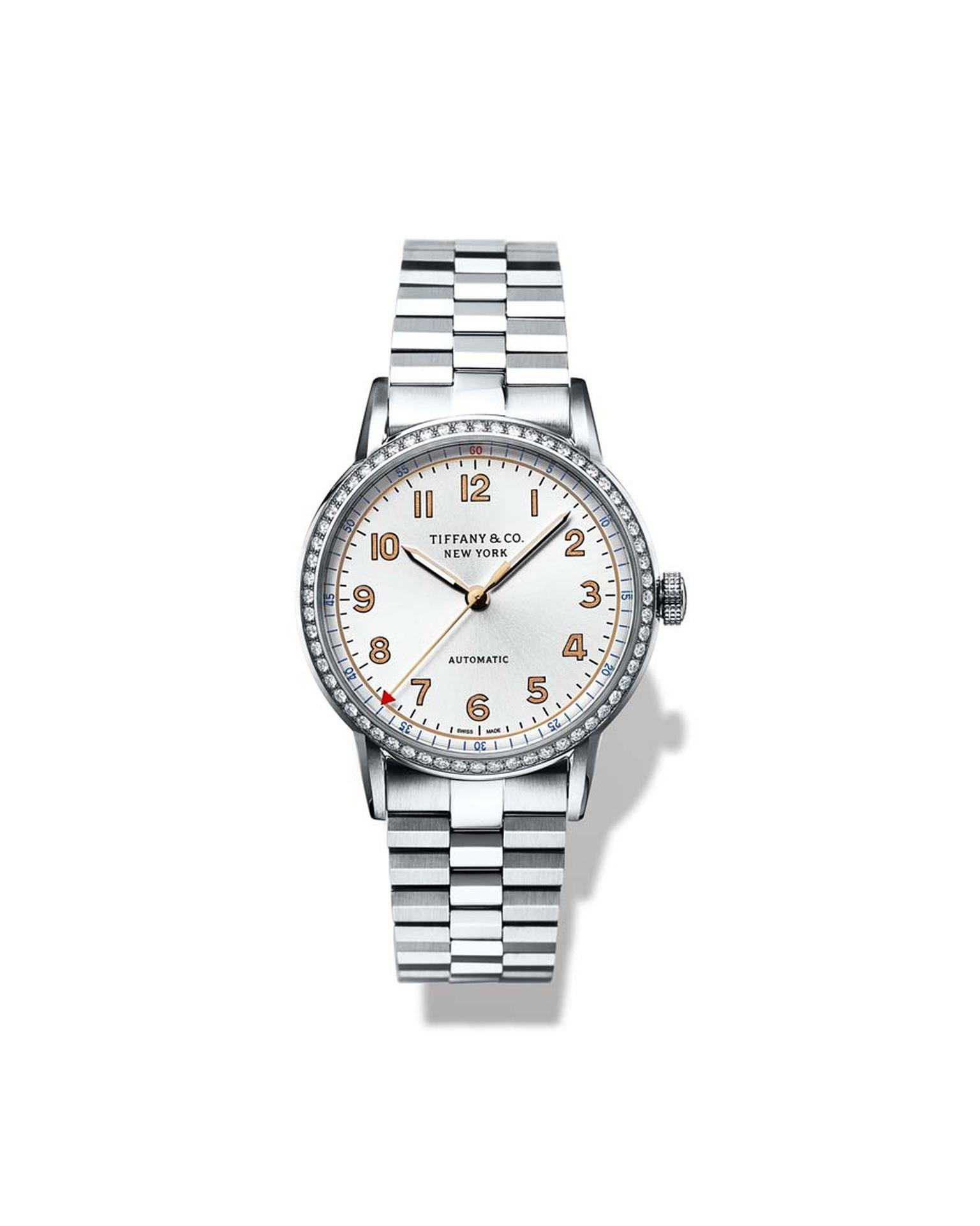 Tiffany & Co. CT60 3-Hand 34mm ladies' watch in stainless steel with a diamond-set bezel and white sunray dial.
