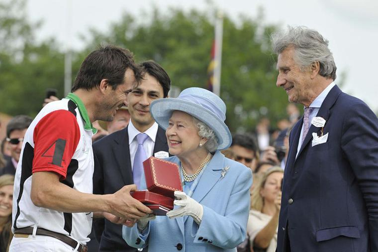 Queen's jewels and diamond brooch at Cartier Polo Queen's Cup